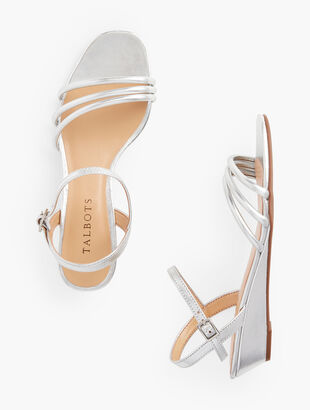 Cora Multi Strap Mini Wedge Sandals - Metallic Leather