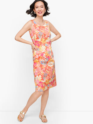 Textured Fruit & Flowers Shift Dress