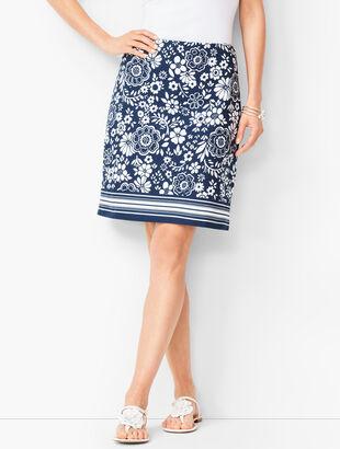 Classic Cotton A-Line Skirt - Floral