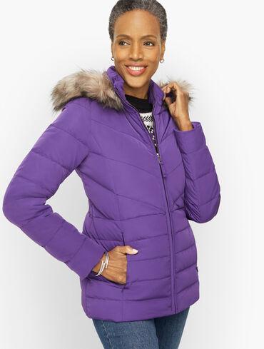 Faux Fur Hooded Short Down Alternative Puffer Coat