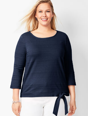Textured Tie-Hem Top