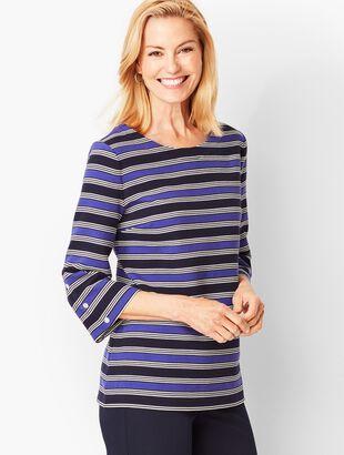 Bateau-Neck Knit Top - Stripe