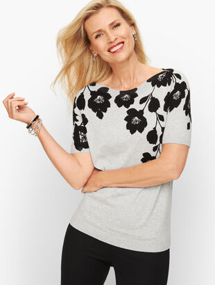 Bateau Neck Sweater Topper - Floral