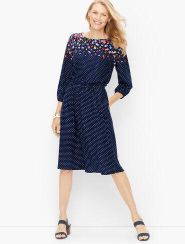 Cotton Modal Midi Dress - Lovely Floral Dot