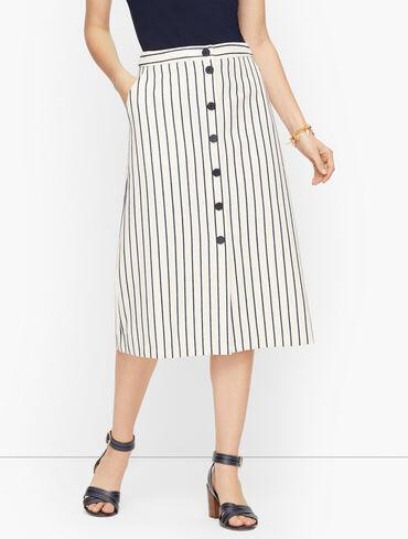 Heron Stripe Button Down Skirt