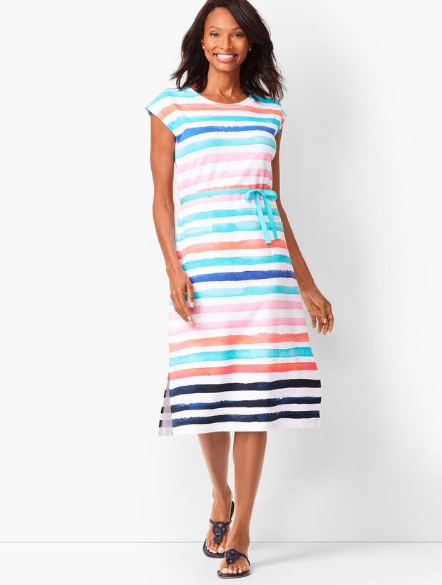 Painterly-Stripe Midi Dress