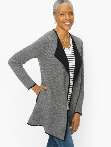 Drape Front Open Sweater Jacket - Chevron