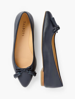 Poppy Bow Flats - Nappa Leather