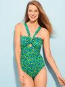 Cutout Halter Swim Suit - Citrus Print