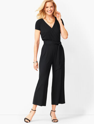 Faux-Wrap Jersey Jumpsuit