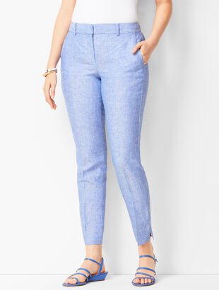 Linen Slim Ankle Pants - Curvy Fit - Solid