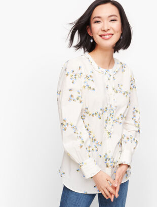 Pleated Trim Floral Shirt
