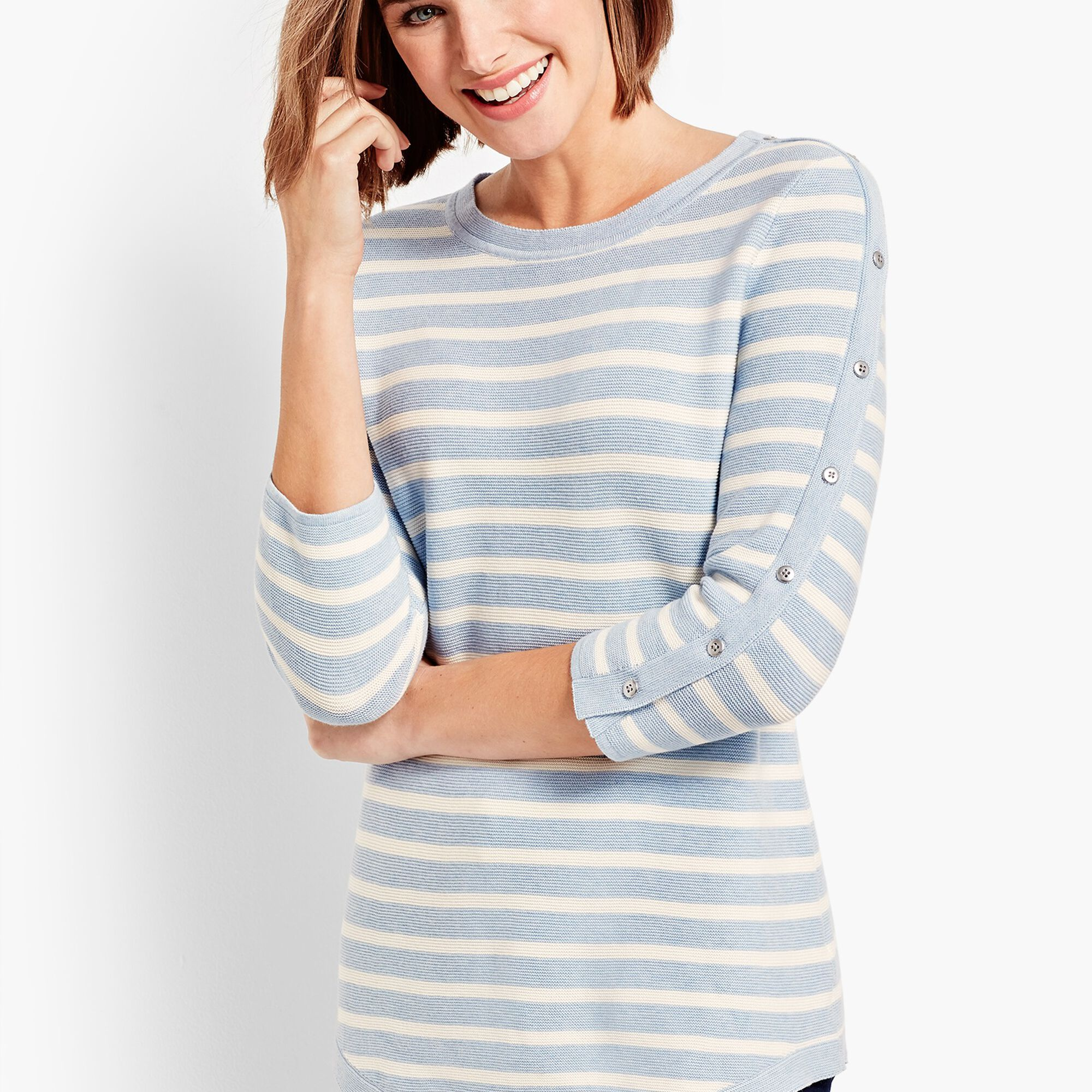Images. Links Striped Button-Detailed Sweater 5e6c00451
