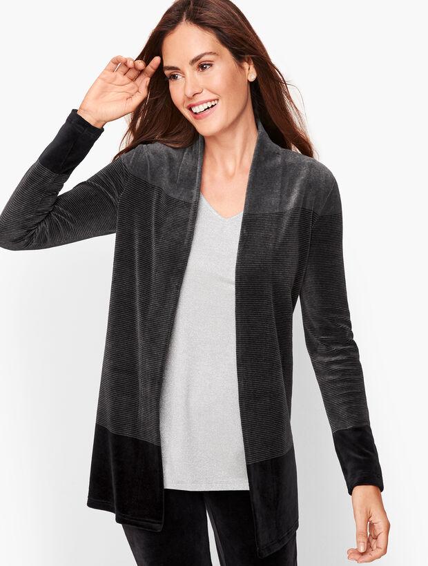 Luxe Velour Stripe Open Cardigan
