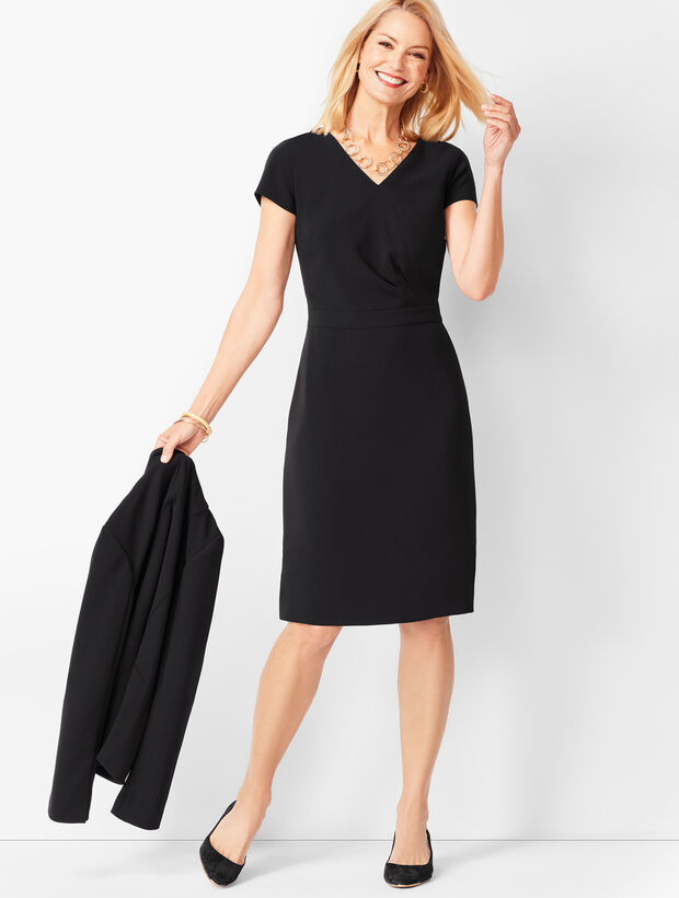 Easy Travel Faux-Wrap Sheath Dress