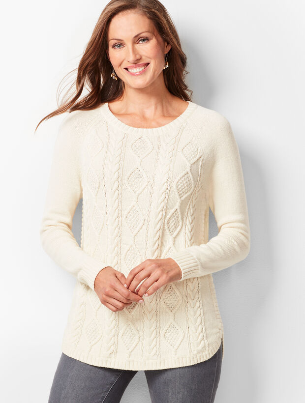 Cotton Crewneck Cable Sweater