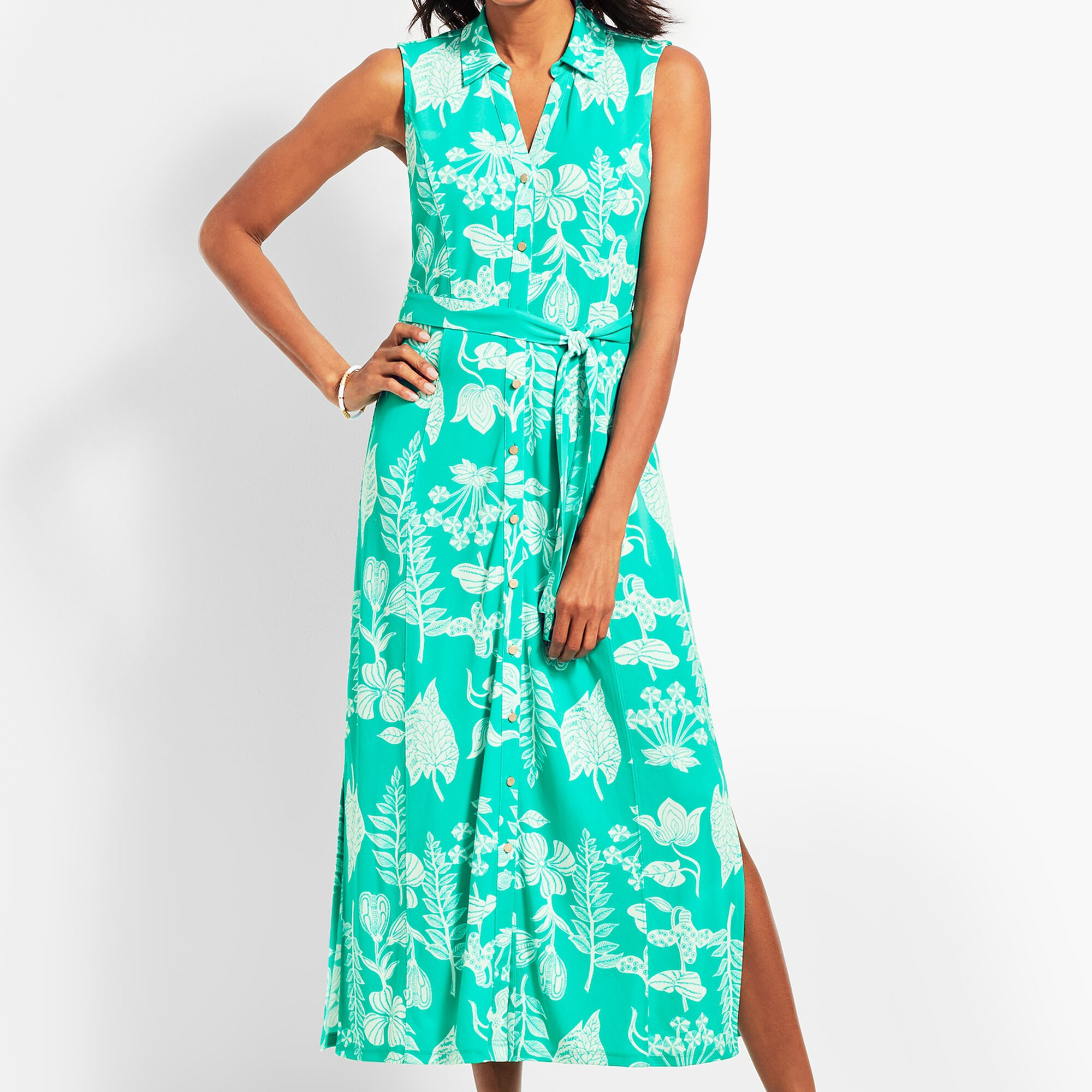 e5113b08f163 Images. Sleeveless Garden-Print Shirtdress