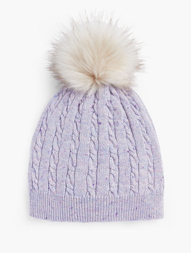 Cable Stitch Tweed Pompom Hat