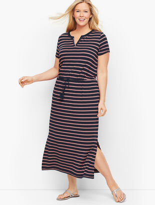 Stripe Split Neck Maxi Dress