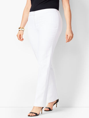 Plus Size Dobby Weave Straight-Leg Pants