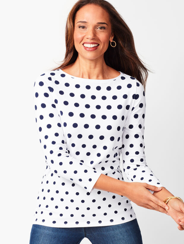 Cotton Bateau-Neck Tee - Dot