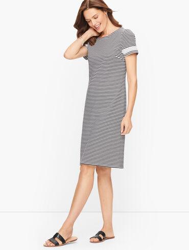 Cotton Lace Trim Shift Dress - Soleil Stripe