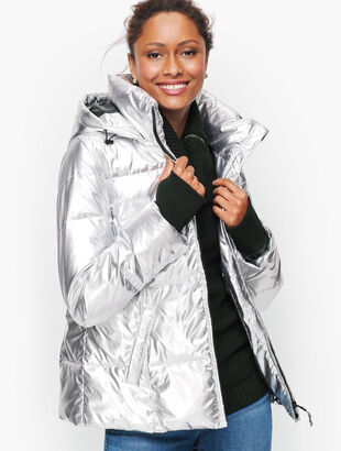 Down Alternative Metallic Puffer Jacket