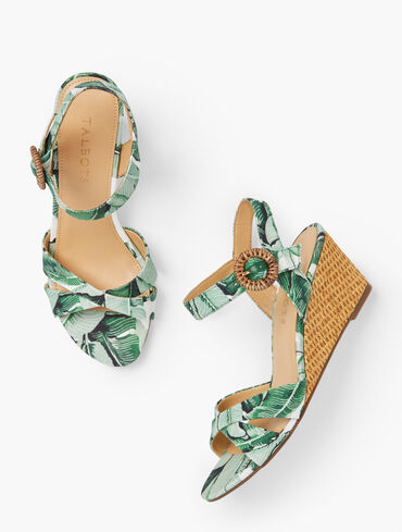 Royce Canvas Wedge Sandals - Pretty Palms