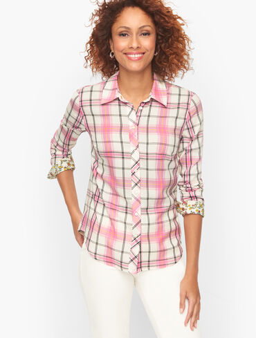 Button Front Shirt - Coffee Plaid