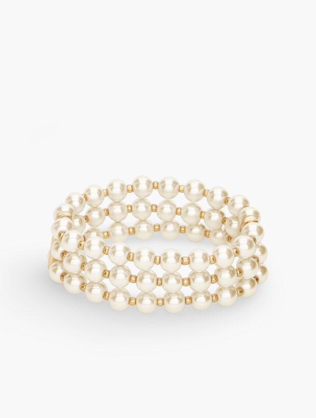 Layered Pearls Stretch Bracelet