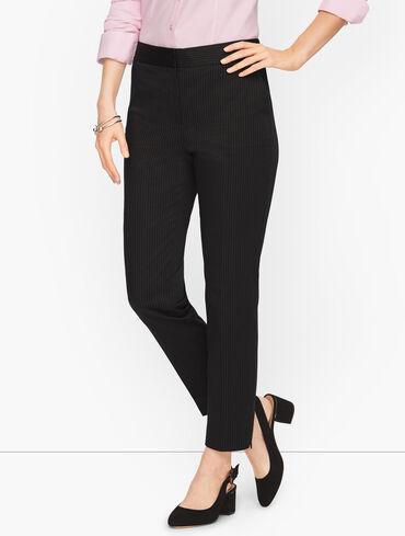 Sateen Stripe Slim Ankle Pants
