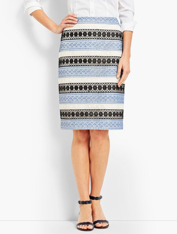 Lace Stripe Pencil Skirt