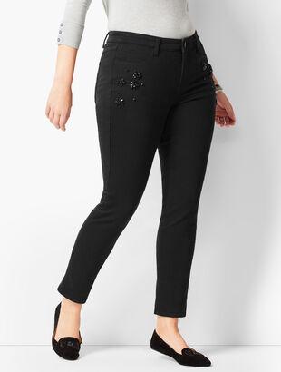 Crystal Embellished Slim Ankle Jeans - Never Fade Black