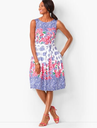 Mosaic Floral Sateen Fit & Flare Dress