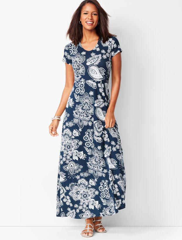 Paisley Knit Maxi Dress