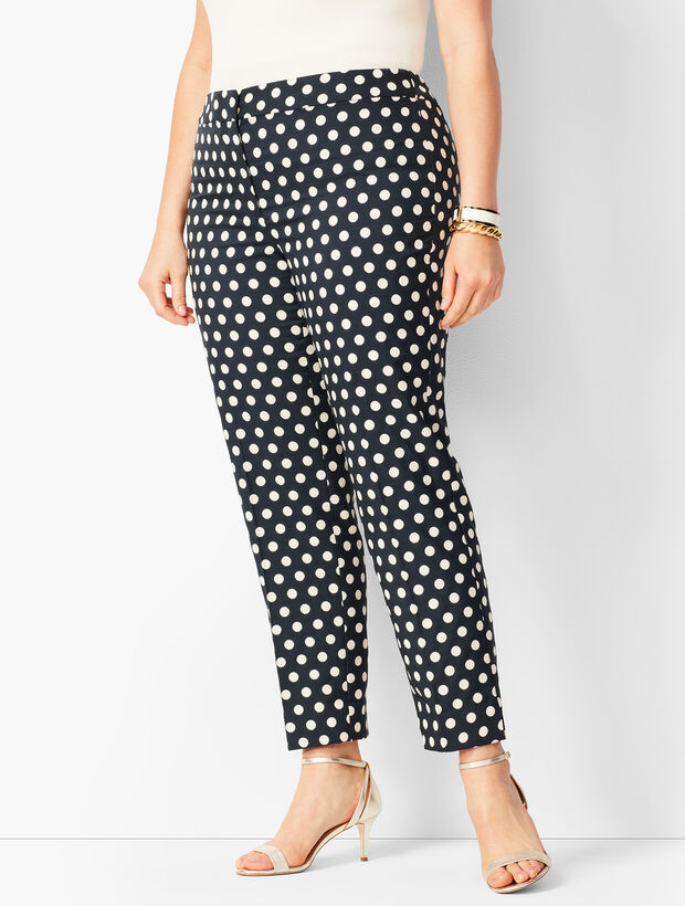 Plus Size Dot Jacquard Tailored Hampshire Ankle Pants