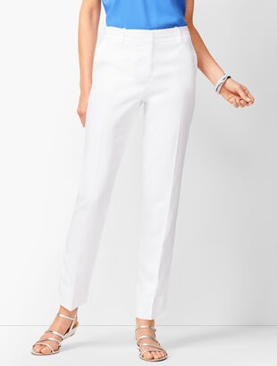 Linen Slim Ankle Pants - Lined White