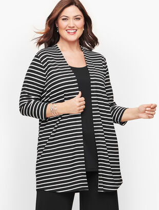 Knit Jersey Stripe Open Cardigan