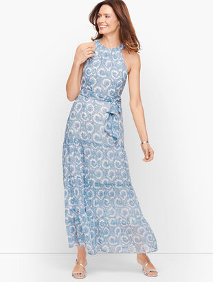 High Neck Paisley Tiered Maxi Dress
