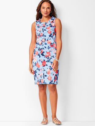 Pleat-Neck Sheath Dress - Floral