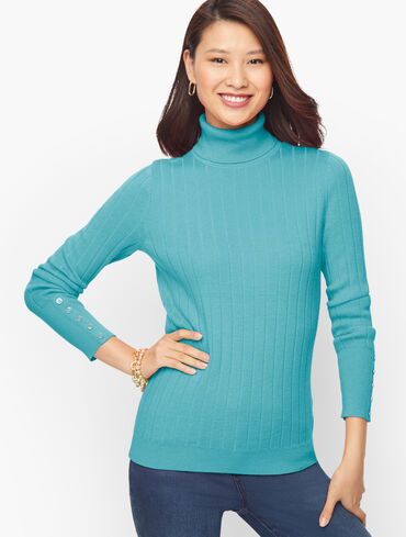 Ribbed Button Cuff Turtleneck Sweater