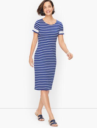 Cotton Lace Trim Shift Dress - Spring Stripe