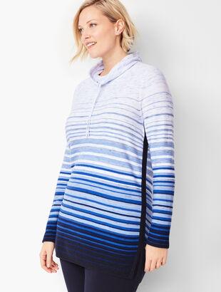 Drawstring Cowlneck Ombré-Stripe Top