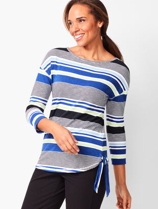 Stripe Side-Tie Tee