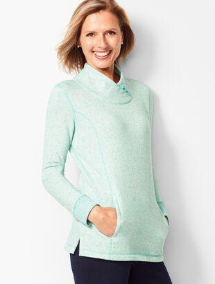 Heathered Fleece Wrap-Neck Tunic