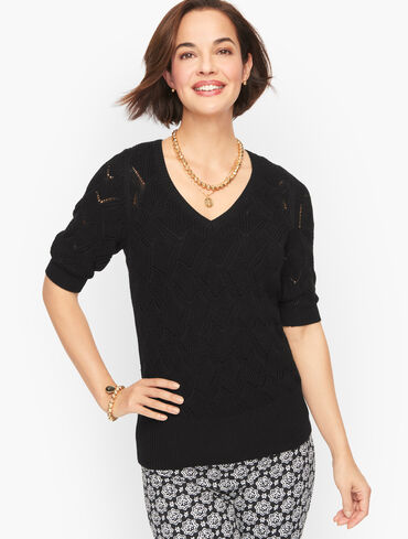 Puff Sleeve Pointelle V-Neck Pullover
