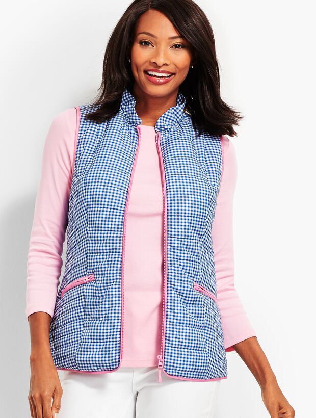 Quilted Gingham Vest