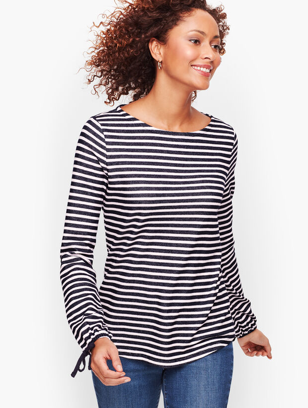 Tie Sleeve Stripe Top