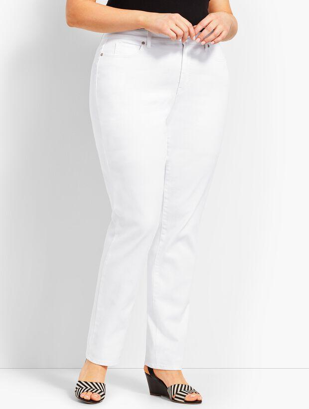 High-Waist Straight-Leg Jeans - White