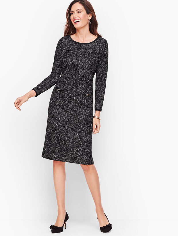 Knit Tweed Shift Dress